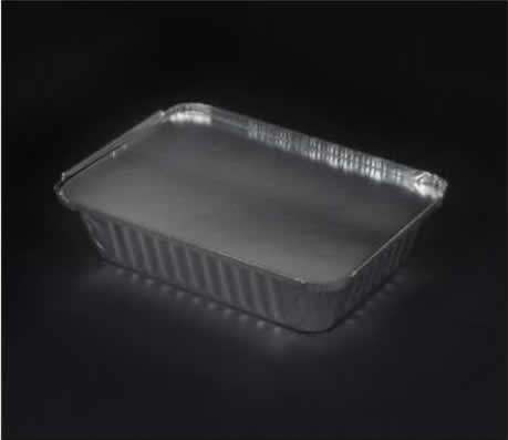 "Aluminum closeable container 8x6x2"" oblong with foil board lid"