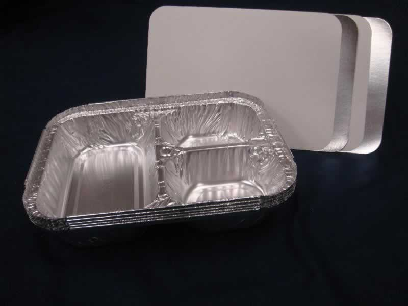 Aluminum 3 compartment container with lid